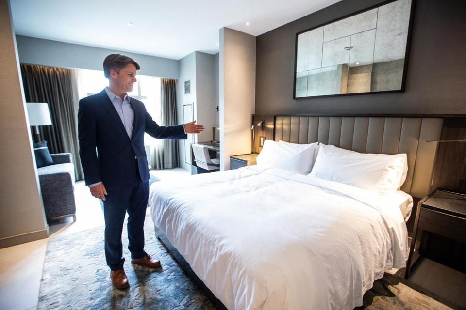 06/07/2018 SOMERVILLE, MA General Manager Michael O'Shaughnessy (cq) gives the globe an exclusive look at a room at The Row Hotel at Assembly Row in Somerville. (Aram Boghosian for The Boston Globe)